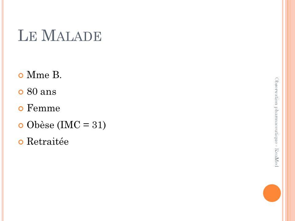 L E M ALADE Mme B. 80 ans Femme Obèse (IMC = 31) Retraitée Observation pharmaceutique - ReaMed