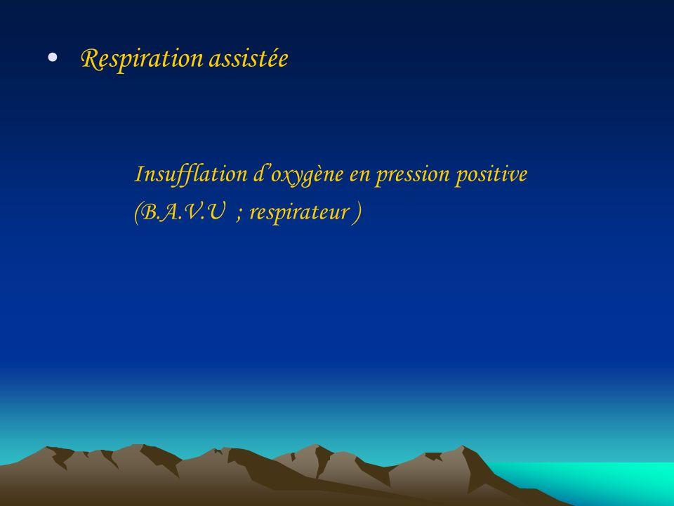Respiration assistée Insufflation doxygène en pression positive (B.A.V.U ; respirateur )