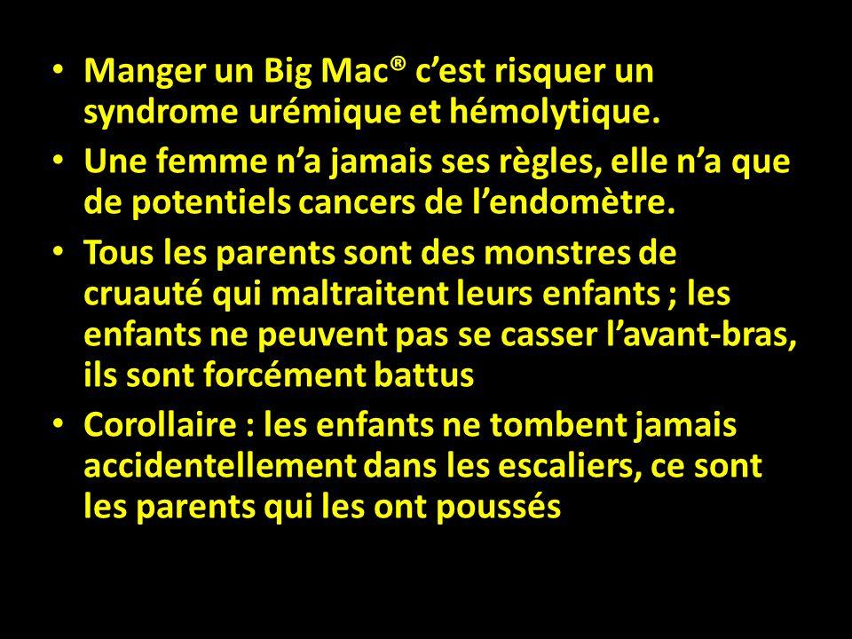 Manger un Big Mac® cest risquer un syndrome urémique et hémolytique. Une femme na jamais ses règles, elle na que de potentiels cancers de lendomètre.