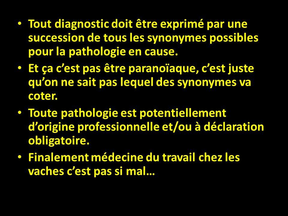 Tout diagnostic doit être exprimé par une succession de tous les synonymes possibles pour la pathologie en cause. Et ça cest pas être paranoïaque, ces