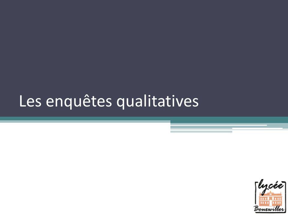 Les enquêtes qualitatives