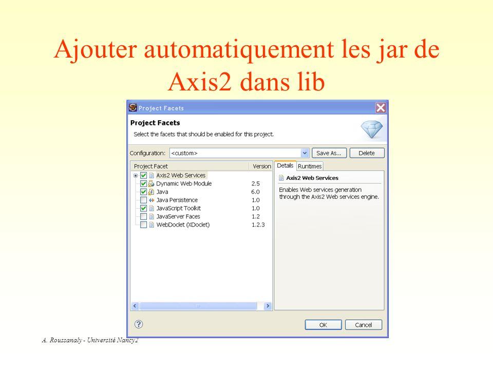 A. Roussanaly - Université Nancy2 Ajouter automatiquement les jar de Axis2 dans lib