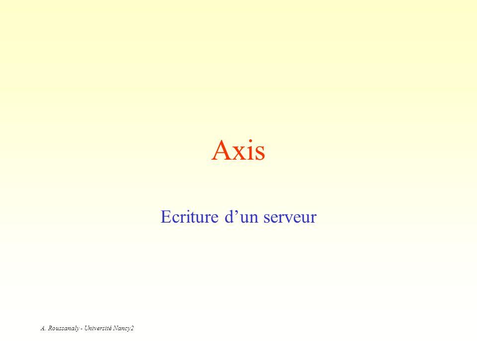 A. Roussanaly - Université Nancy2 Axis Ecriture dun serveur