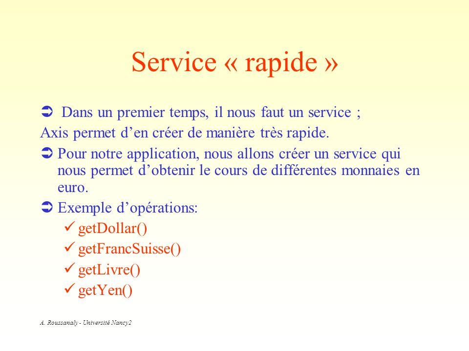 A. Roussanaly - Université Nancy2 Service « rapide » Dans un premier temps, il nous faut un service ; Axis permet den créer de manière très rapide. Po