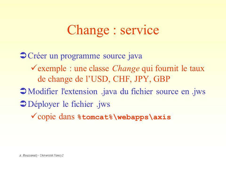 A. Roussanaly - Université Nancy2 Change : service Créer un programme source java exemple : une classe Change qui fournit le taux de change de lUSD, C