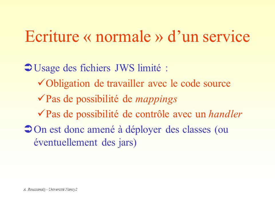 A. Roussanaly - Université Nancy2 Ecriture « normale » dun service Usage des fichiers JWS limité : Obligation de travailler avec le code source Pas de