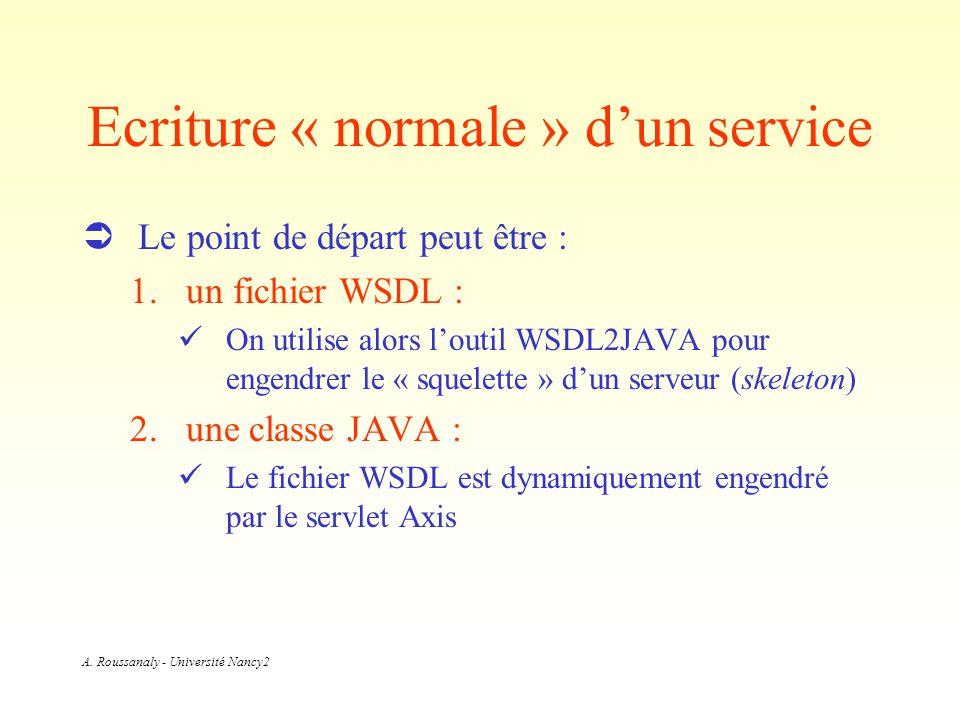 A. Roussanaly - Université Nancy2 Ecriture « normale » dun service Le point de départ peut être : 1.un fichier WSDL : On utilise alors loutil WSDL2JAV