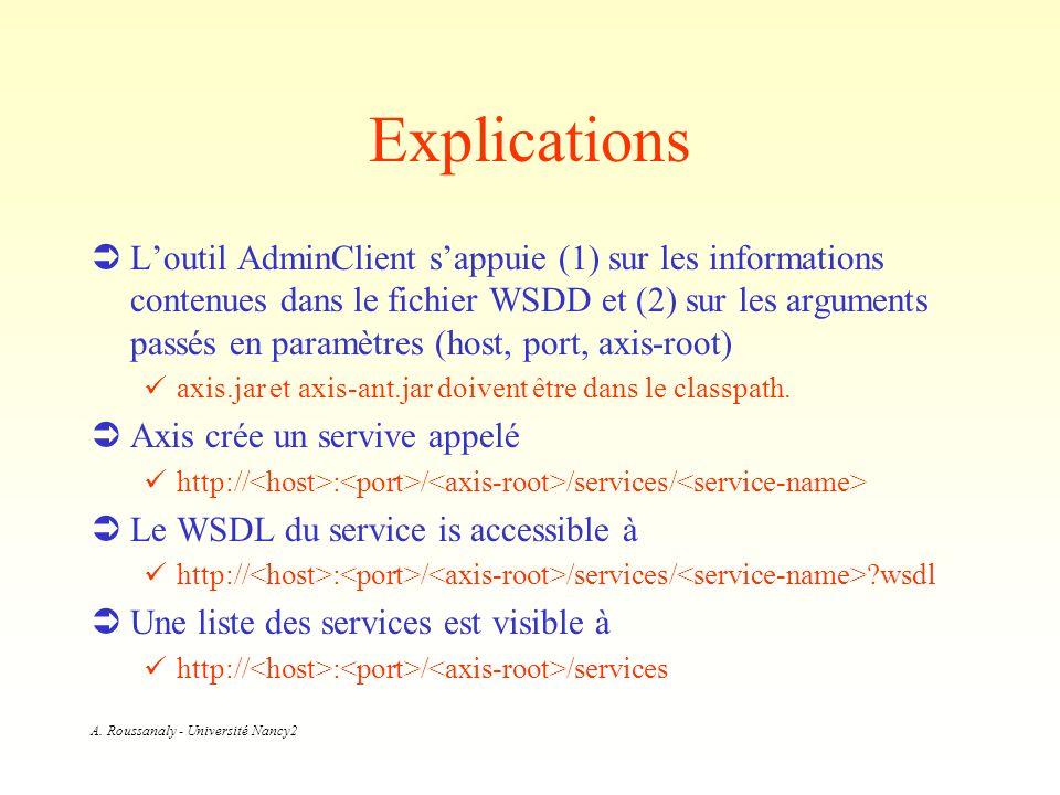 A. Roussanaly - Université Nancy2 Explications Loutil AdminClient sappuie (1) sur les informations contenues dans le fichier WSDD et (2) sur les argum