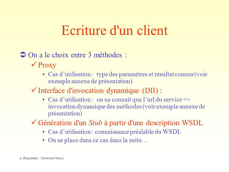 A. Roussanaly - Université Nancy2 Ecriture d'un client On a le choix entre 3 méthodes : Proxy Cas dutilisation : type des paramètres et résultat connu