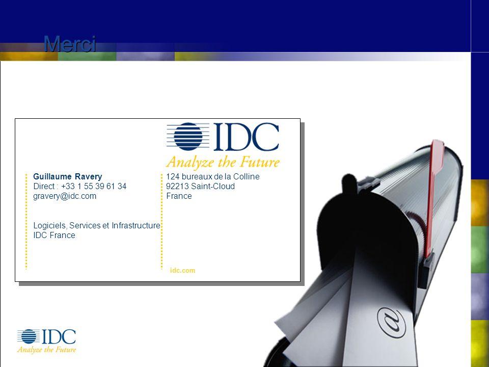 ©IDC, 2006 Merci 124 bureaux de la Colline 92213 Saint-Cloud France idc.com Guillaume Ravery Direct : +33 1 55 39 61 34 gravery@idc.com Logiciels, Services et Infrastructure IDC France