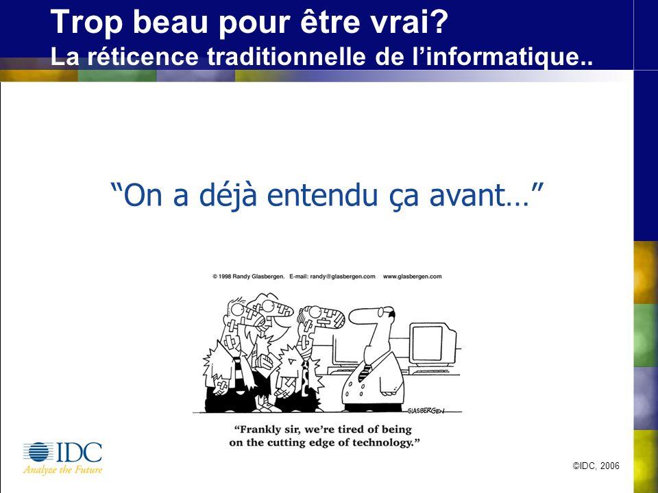 ©IDC, 2006 Trop beau pour être vrai.La réticence traditionnelle de linformatique..