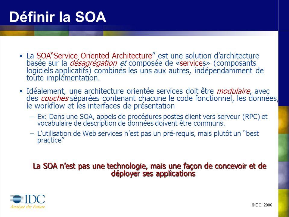 ©IDC, 2006 Définir la SOA La SOAService Oriented Architecture est une solution darchitecture basée sur la désagrégation et composée de «services» (com