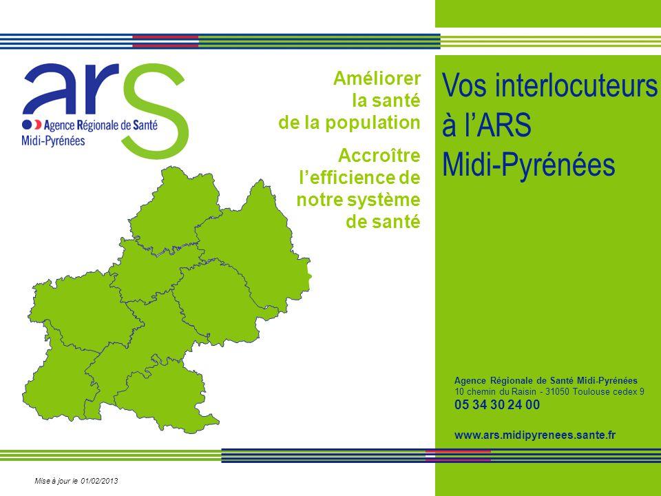 Améliorer la santé de la population Accroître lefficience de notre système de santé Vos interlocuteurs à lARS Midi-Pyrénées Agence Régionale de Santé