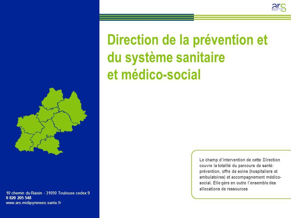 Le champ dintervention de cette Direction couvre la totalité du parcours de santé: prévention, offre de soins (hospitaliers et ambulatoires) et accomp