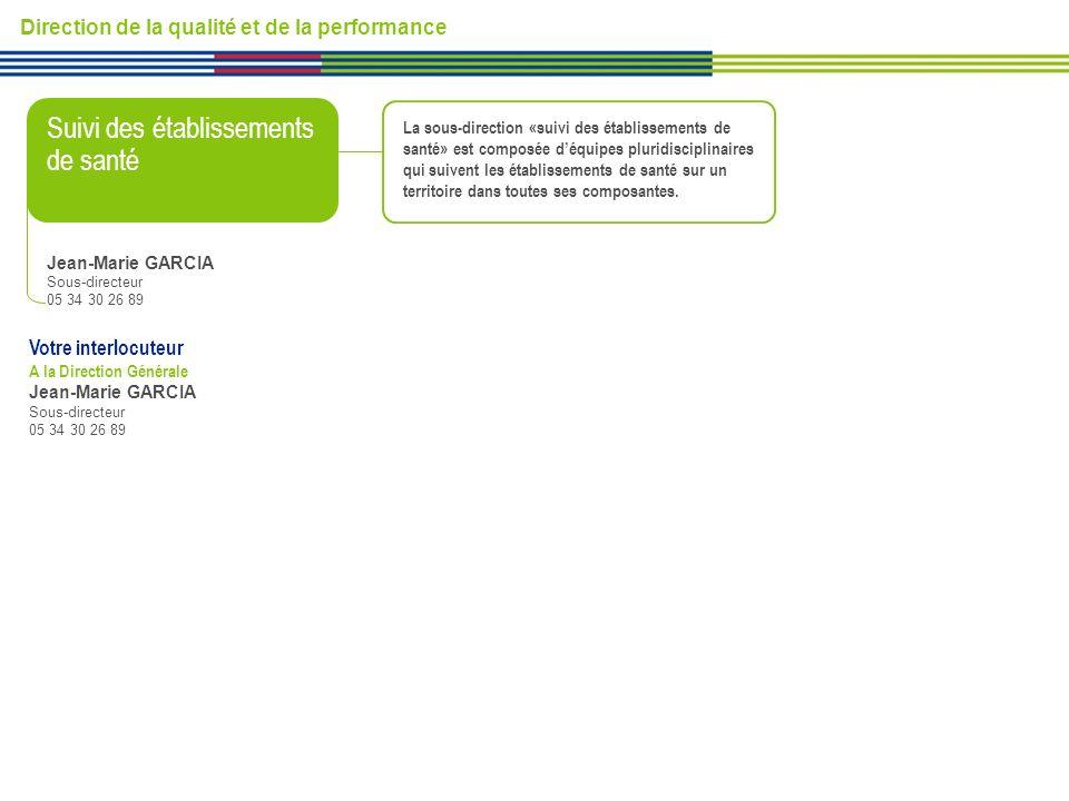 Direction de la qualité et de la performance Suivi des établissements de santé Votre interlocuteur A la Direction Générale Jean-Marie GARCIA Sous-dire