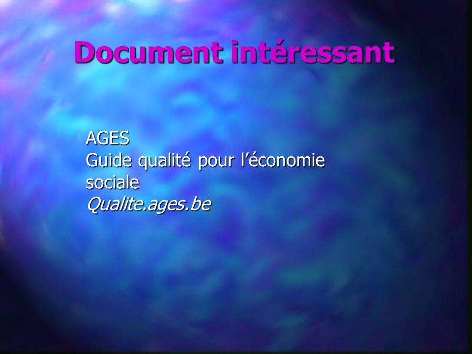 Document intéressant AGES Guide qualité pour léconomie sociale Qualite.ages.be