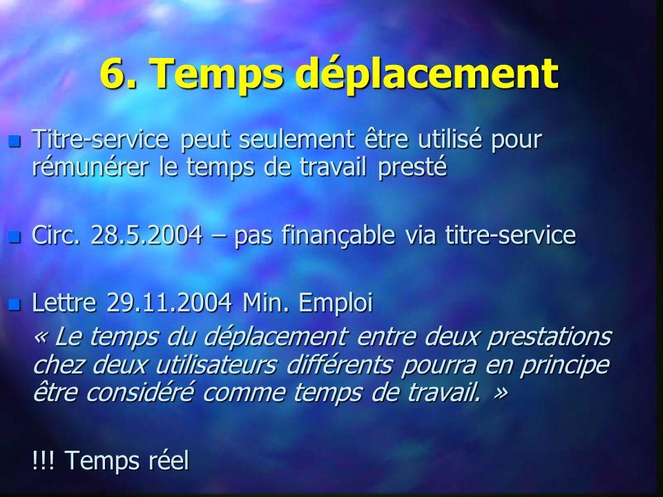 n Titre-service peut seulement être utilisé pour rémunérer le temps de travail presté n Circ.