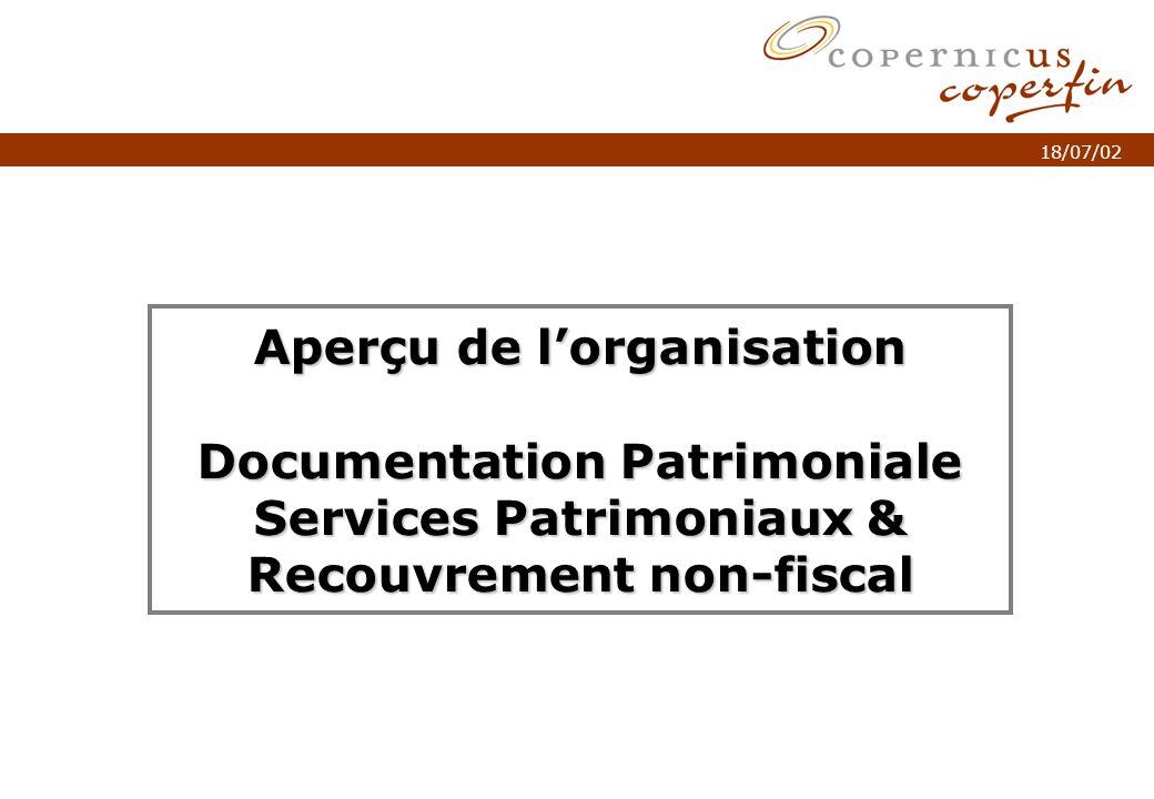 p. 1Titel van de presentatie 18/07/02 Aperçu de lorganisation Documentation Patrimoniale Services Patrimoniaux & Recouvrement non-fiscal