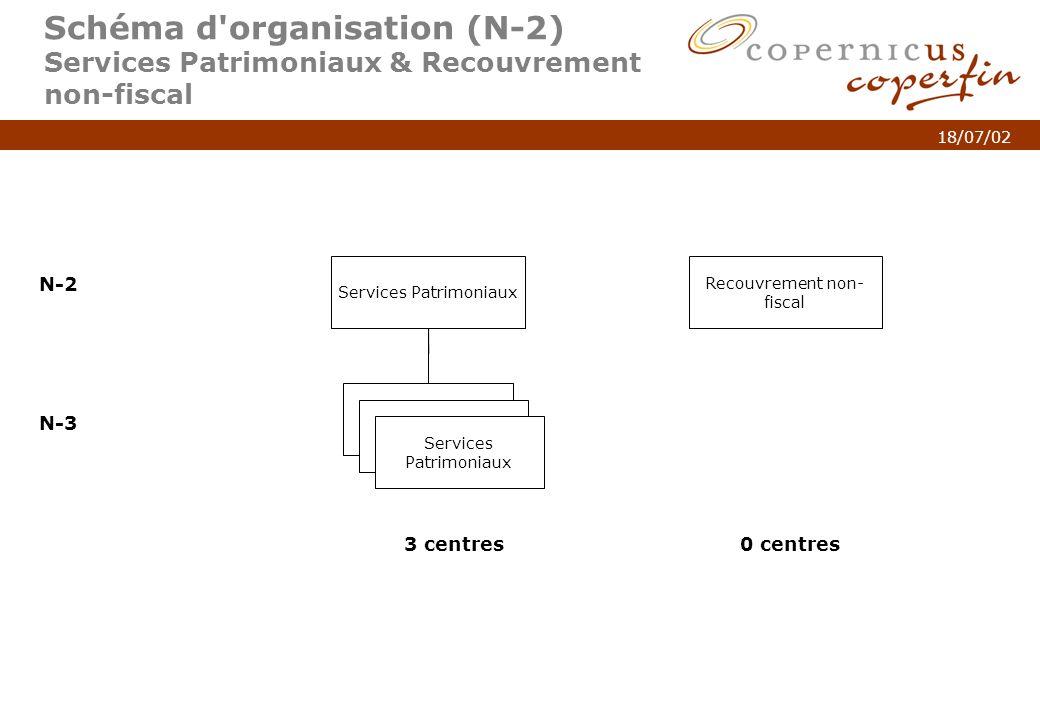 p. 4Titel van de presentatie 18/07/02 Schéma d'organisation (N-2) Services Patrimoniaux & Recouvrement non-fiscal Services Patrimoniaux N-2 N-3 Servic