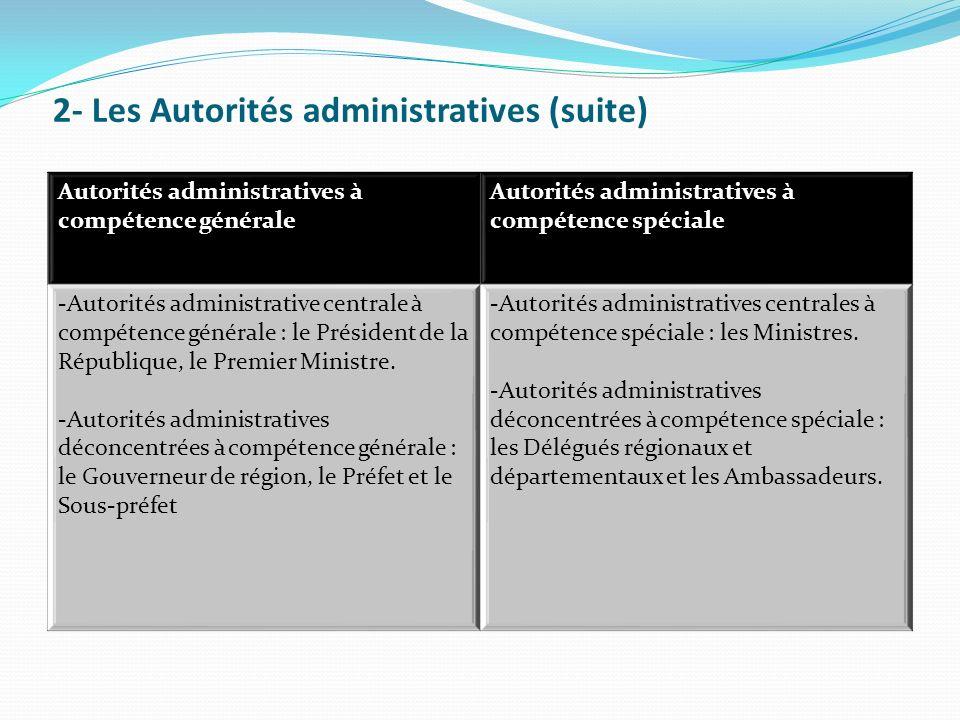 2- Les Autorités administratives (suite) Autorités administratives à compétence générale Autorités administratives à compétence spéciale -Autorités administrative centrale à compétence générale : le Président de la République, le Premier Ministre.
