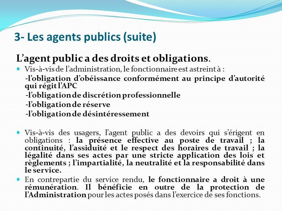 3- Les agents publics (suite) Lagent public a des droits et obligations.