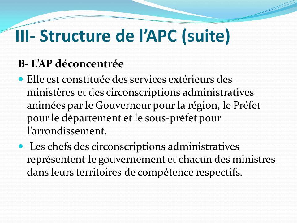 III- Structure de lAPC (suite) B- LAP déconcentrée Elle est constituée des services extérieurs des ministères et des circonscriptions administratives animées par le Gouverneur pour la région, le Préfet pour le département et le sous-préfet pour larrondissement.