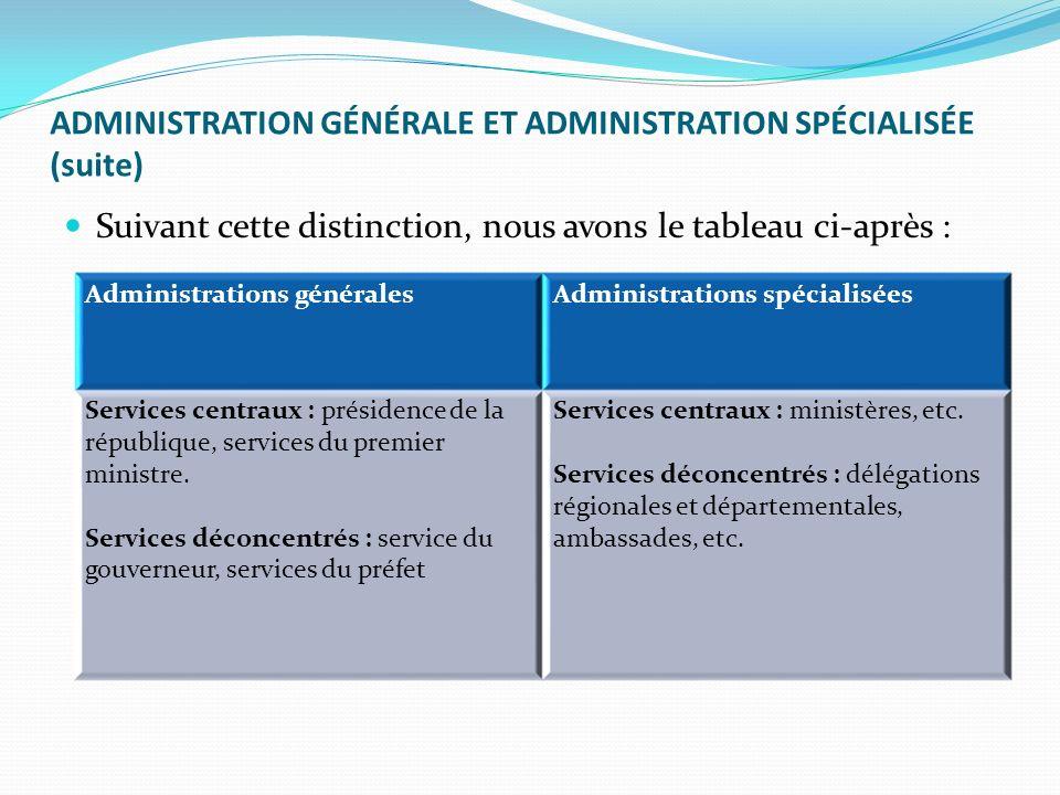 ADMINISTRATION GÉNÉRALE ET ADMINISTRATION SPÉCIALISÉE (suite) Suivant cette distinction, nous avons le tableau ci-après : Administrations généralesAdministrations spécialisées Services centraux : présidence de la république, services du premier ministre.