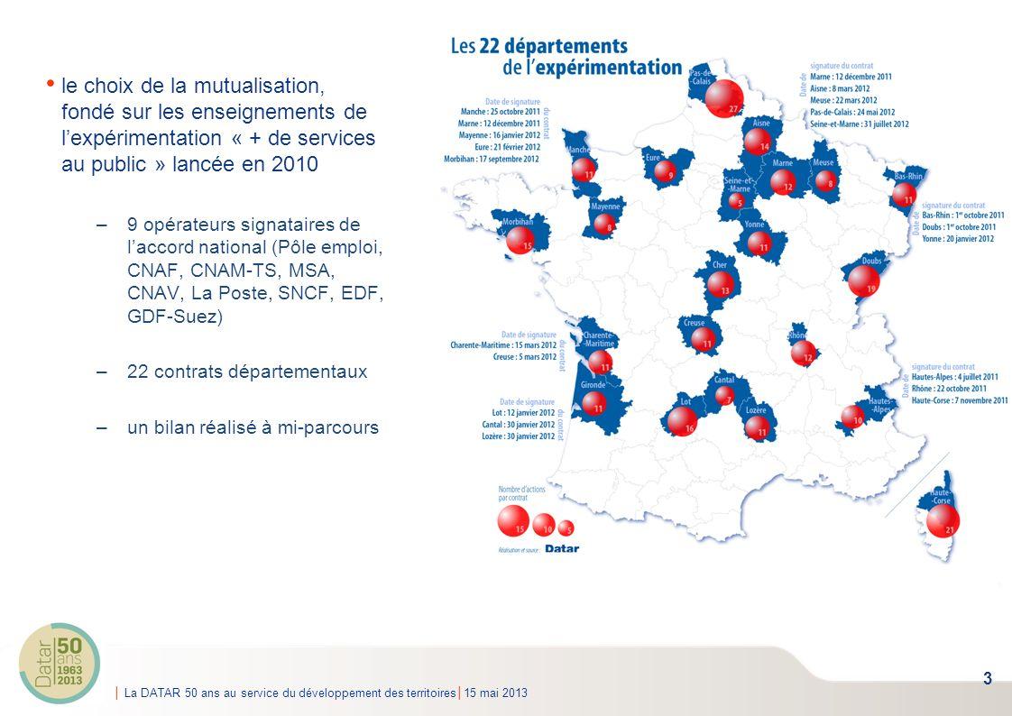 La DATAR 50 ans au service du développement des territoires15 mai 2013 320 Relais services publics, espaces mutualisés labellisés par lEtat présence dans 65 départements un portage par des collectivités ou groupements dans 77% des cas, par un CCAS ou CIAS dans 4% des cas 2 à 23 opérateurs partenaires par RSP, 6,6 en moyenne 3 grandes familles de services proposés : emploi / vie quotidienne / développement économique opérateurs nationaux les plus présents : Pôle emploi, CNAF, CNAM-TS, MSA de nombreux conseils généraux partenaires 4