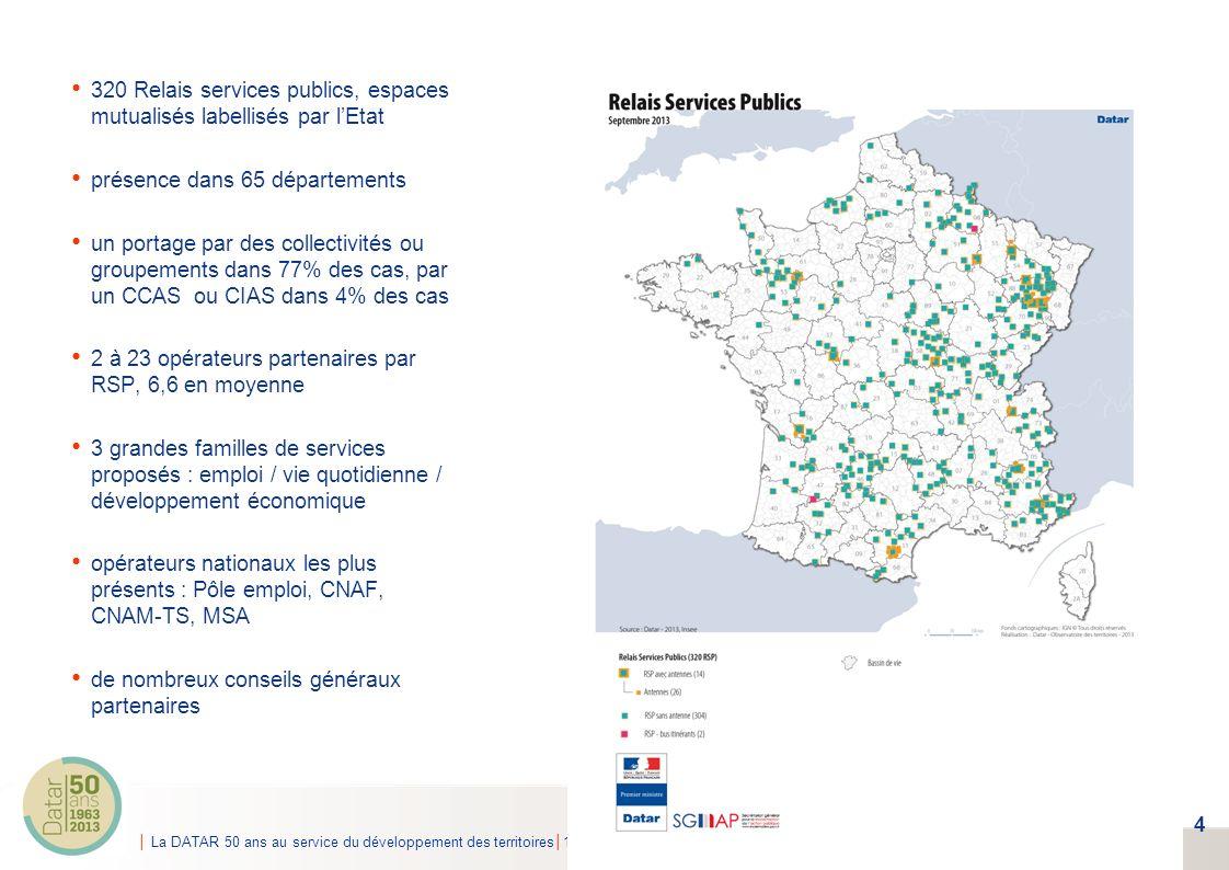 La DATAR 50 ans au service du développement des territoires15 mai 2013 320 Relais services publics, espaces mutualisés labellisés par lEtat présence d