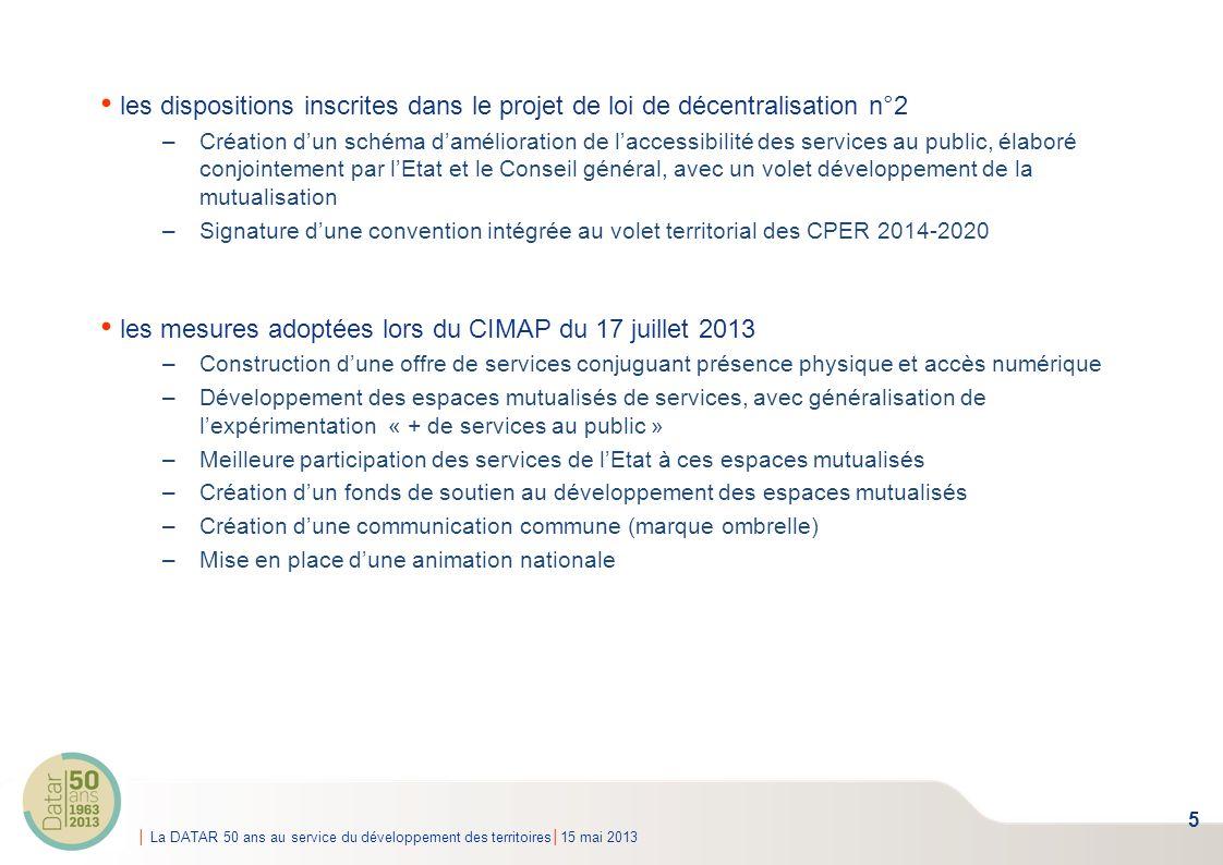 La DATAR 50 ans au service du développement des territoires15 mai 2013 les dispositions inscrites dans le projet de loi de décentralisation n°2 –Créat