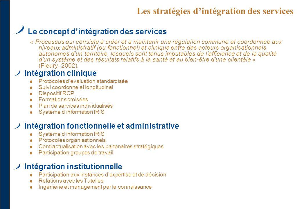 Les stratégies dintégration des services Le concept dintégration des services « Processus qui consiste à créer et à maintenir une régulation commune e