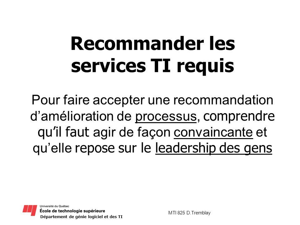 Département de génie logiciel et des TI MTI 825 D.Tremblay Recommander les services TI requis Pour faire accepter une recommandation damélioration de