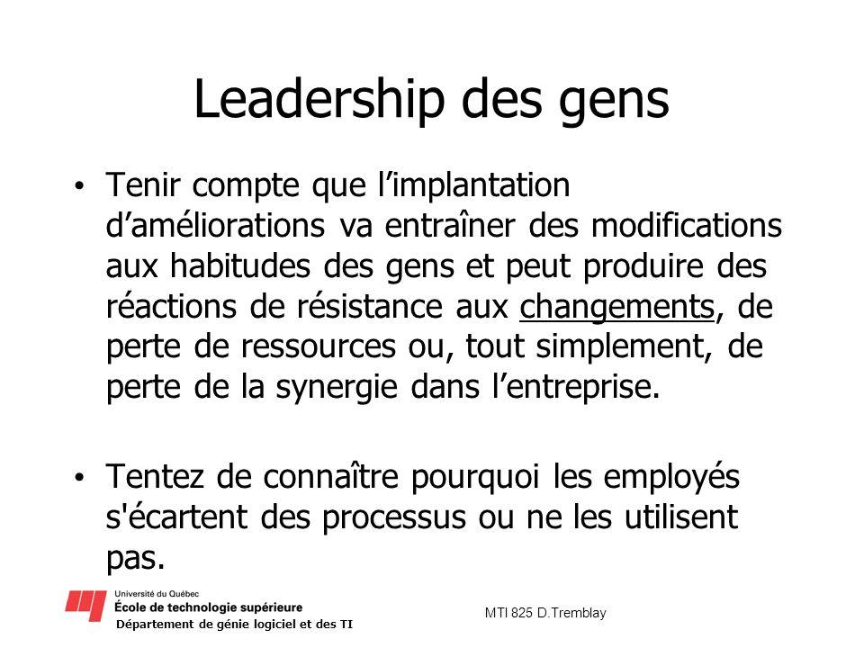 Département de génie logiciel et des TI MTI 825 D.Tremblay Leadership des gens Tenir compte que limplantation daméliorations va entraîner des modifica