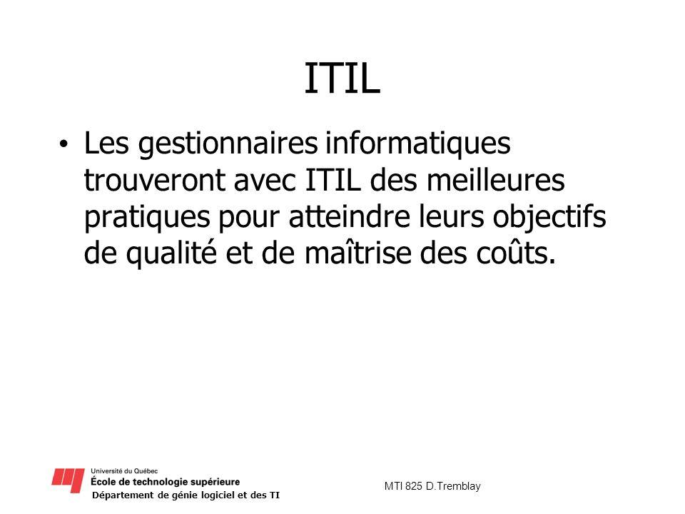 Département de génie logiciel et des TI MTI 825 D.Tremblay ITIL Les gestionnaires informatiques trouveront avec ITIL des meilleures pratiques pour att