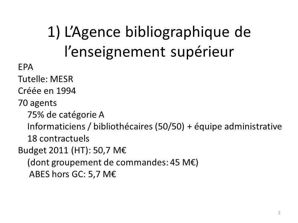 Missions de lABES Lagence « recense et localise les fonds documentaires des bibliothèques de lenseignement supérieur dans le but de faciliter laccès aux catalogues bibliographiques, aux bases de données ainsi quaux documents ».
