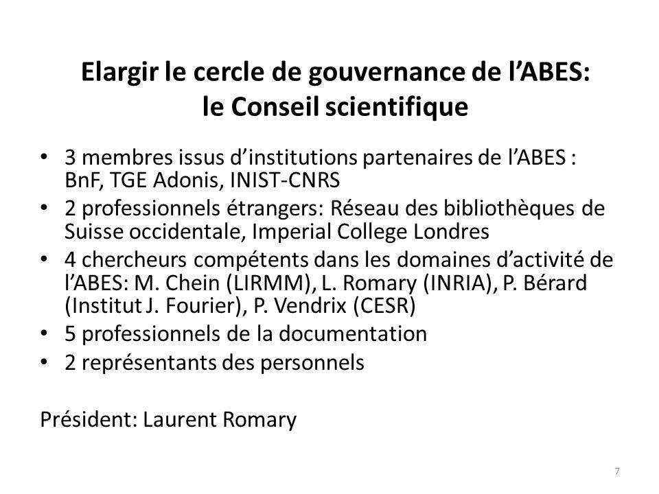 Les partenaires de lABES BnF CNRS (INIST-CNRS, TGE Adonis) Couperin CERIMES CINES 8