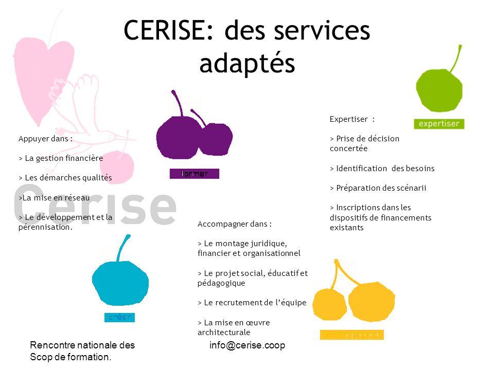Rencontre nationale des Scop de formation. info@cerise.coop CERISE: des services adaptés Expertiser : > Prise de décision concertée > Identification d