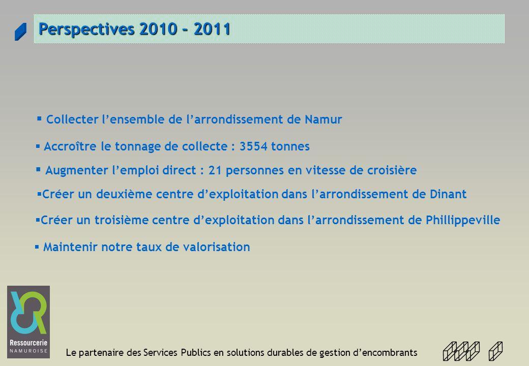 Le partenaire des Services Publics en solutions durables de gestion dencombrants Perspectives 2010 - 2011 Créer un deuxième centre dexploitation dans