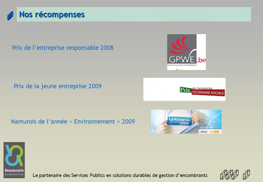 Le partenaire des Services Publics en solutions durables de gestion dencombrants Nos récompenses Prix de lentreprise responsable 2008 Prix de la jeune