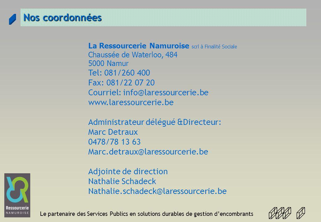 Le partenaire des Services Publics en solutions durables de gestion dencombrants Nos coordonnées La Ressourcerie Namuroise scrl à Finalité Sociale Cha