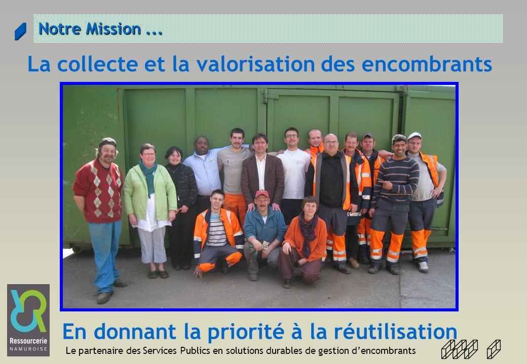 Le partenaire des Services Publics en solutions durables de gestion dencombrants Arrondissement de Namur Namur RN 2005 Gembloux RN 2009 Floreffe RN 2009 Gesves RN 2008 Ohey RN 2008 Sombreffe RN 2010 Eghezée 2011 -2012 Fernelemont 2011 - 2012 La Bruyère 2010 - 2011 Andenne 2010- 2011 Sambreville 2010 - 2011 Jemeppe 2010-2011 Fosse la ville 2011-2012 Profondeville 2011-2012 Assesse 2011-2012 Namur : 1600 T Ohey : 43 T Gesves : 65 T Floreffe : 75 T Gembloux: 220 T Sombreffe : 76 T Total :2079 T Futures Communes 1375 T Total 3554 T Mettet 2011-2012