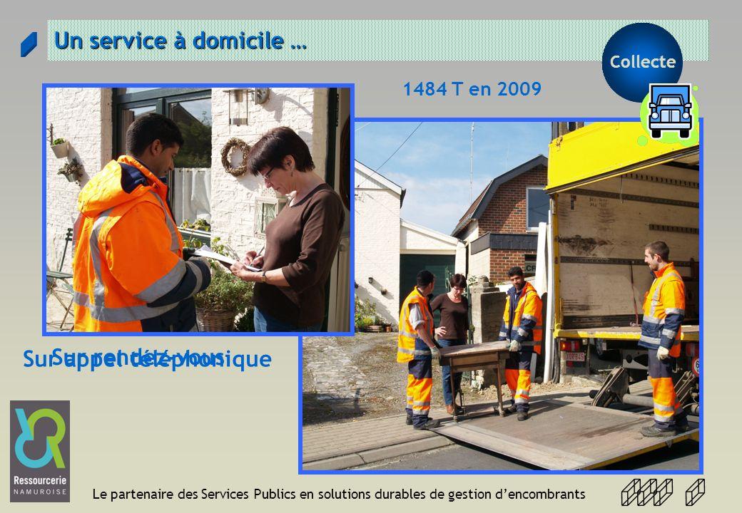 Le partenaire des Services Publics en solutions durables de gestion dencombrants Un service à domicile … 1484 T en 2009 Sur rendez-vous Sur appel télé