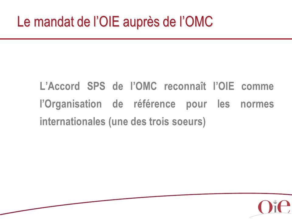 Le mandat de lOIE auprès de lOMC LAccord SPS de lOMC reconnaît lOIE comme lOrganisation de référence pour les normes internationales (une des trois so