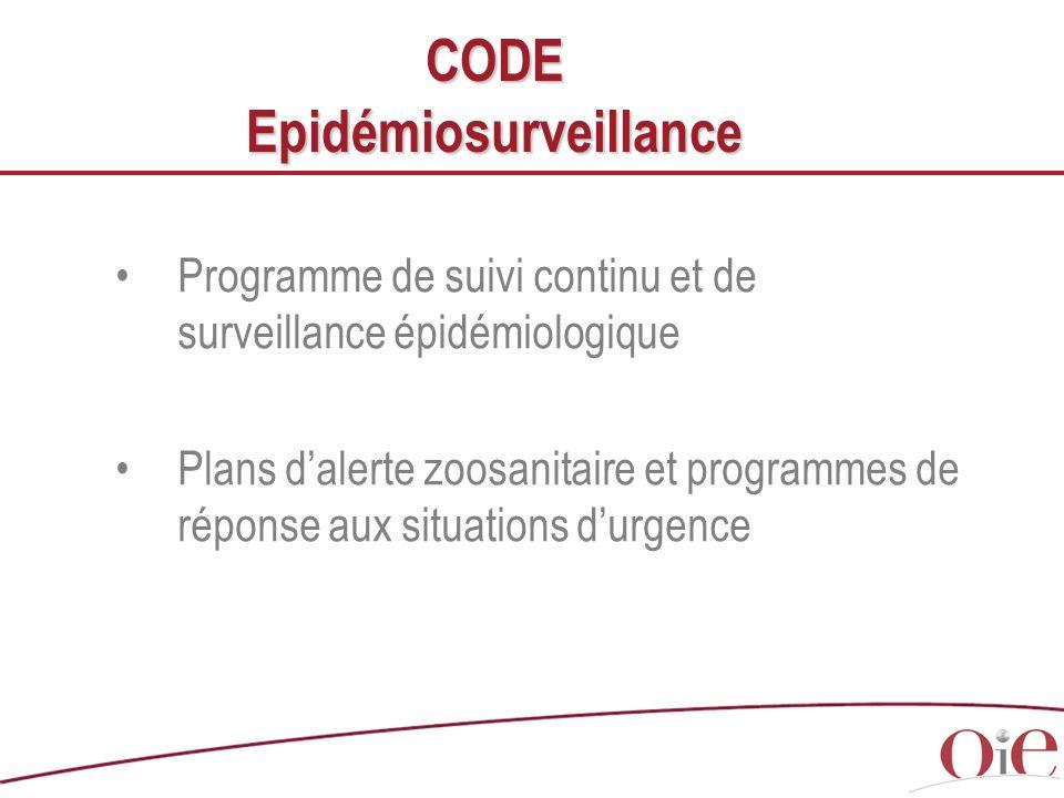 Programme de suivi continu et de surveillance épidémiologique Plans dalerte zoosanitaire et programmes de réponse aux situations durgence CODE Epidémi