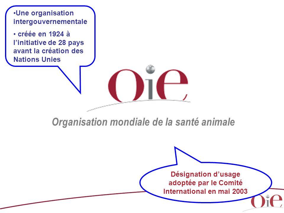 Organisation mondiale de la santé animale Une organisation intergouvernementale créée en 1924 à linitiative de 28 pays avant la création des Nations U