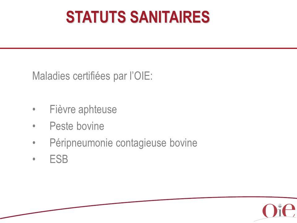 Maladies certifiées par lOIE: Fièvre aphteuse Peste bovine Péripneumonie contagieuse bovine ESB STATUTS SANITAIRES