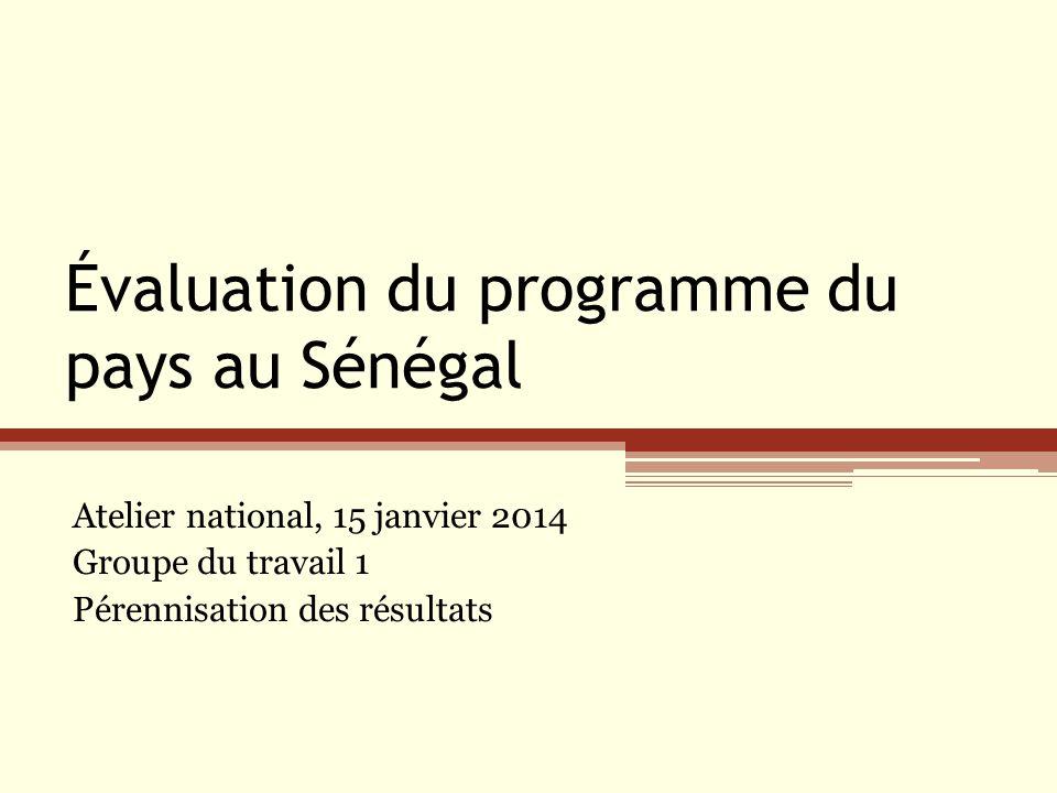 Évaluation du programme du pays au Sénégal Atelier national, 15 janvier 2014 Groupe du travail 1 Pérennisation des résultats