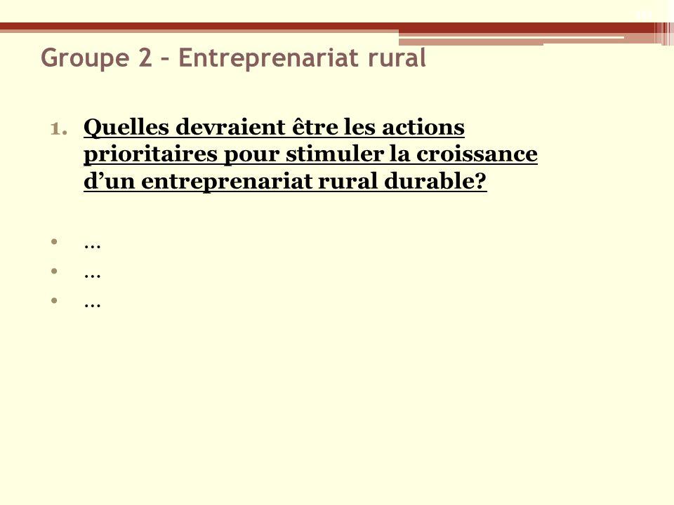 Groupe 2 – Entreprenariat rural 1.Quelles devraient être les actions prioritaires pour stimuler la croissance dun entreprenariat rural durable.