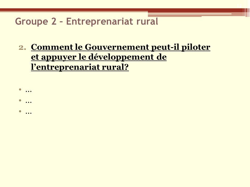 Groupe 2 – Entreprenariat rural 2.Comment le Gouvernement peut-il piloter et appuyer le développement de lentreprenariat rural.