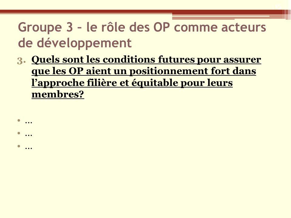 Groupe 3 – le rôle des OP comme acteurs de développement 3.Quels sont les conditions futures pour assurer que les OP aient un positionnement fort dans lapproche filière et équitable pour leurs membres.